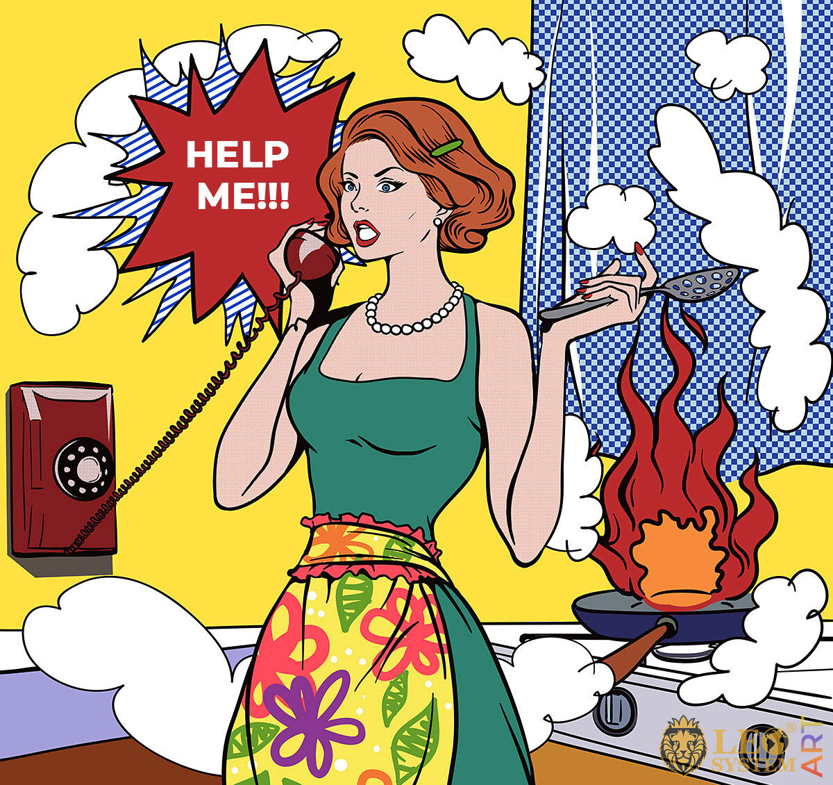 Picture of a woman talking on the phone in the kitchen asking for help