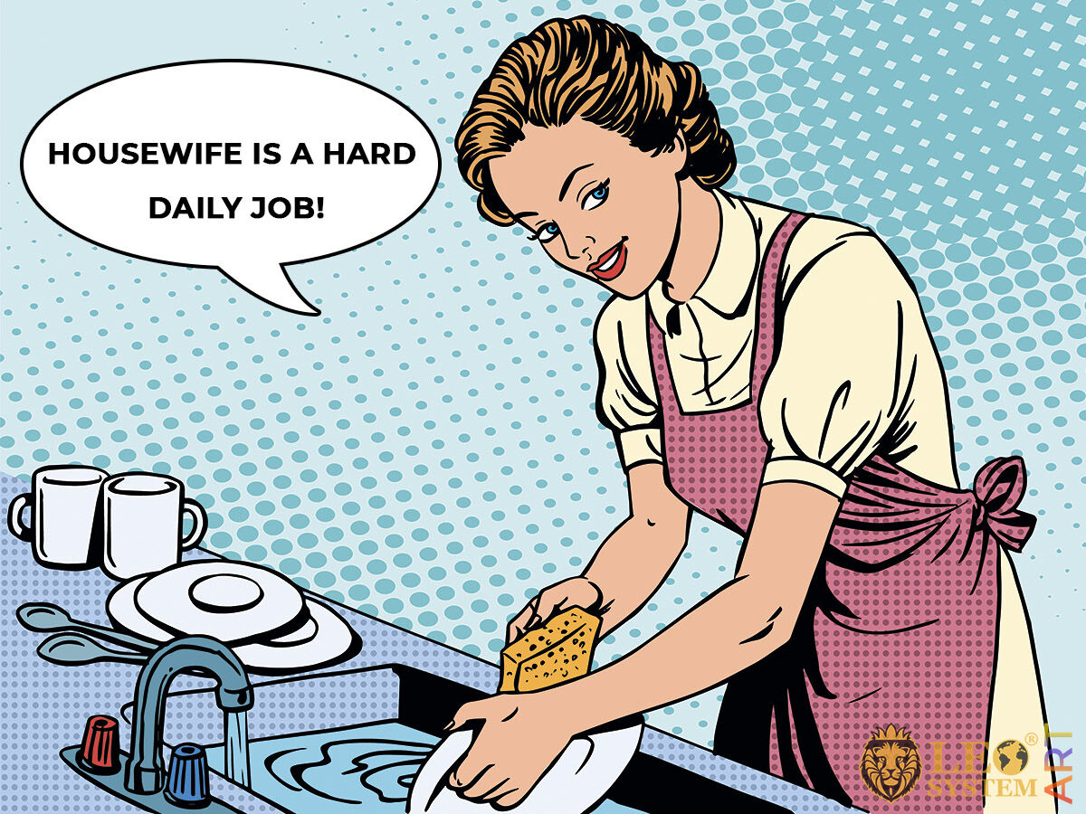 Picture of a housewife who washes the dishes