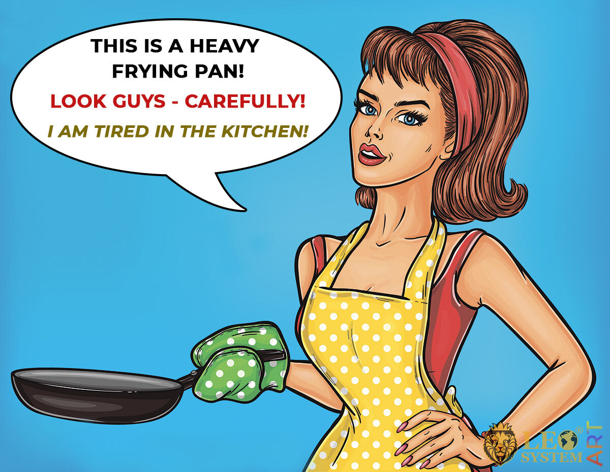 Agitated housewife with a large frying pan in hands