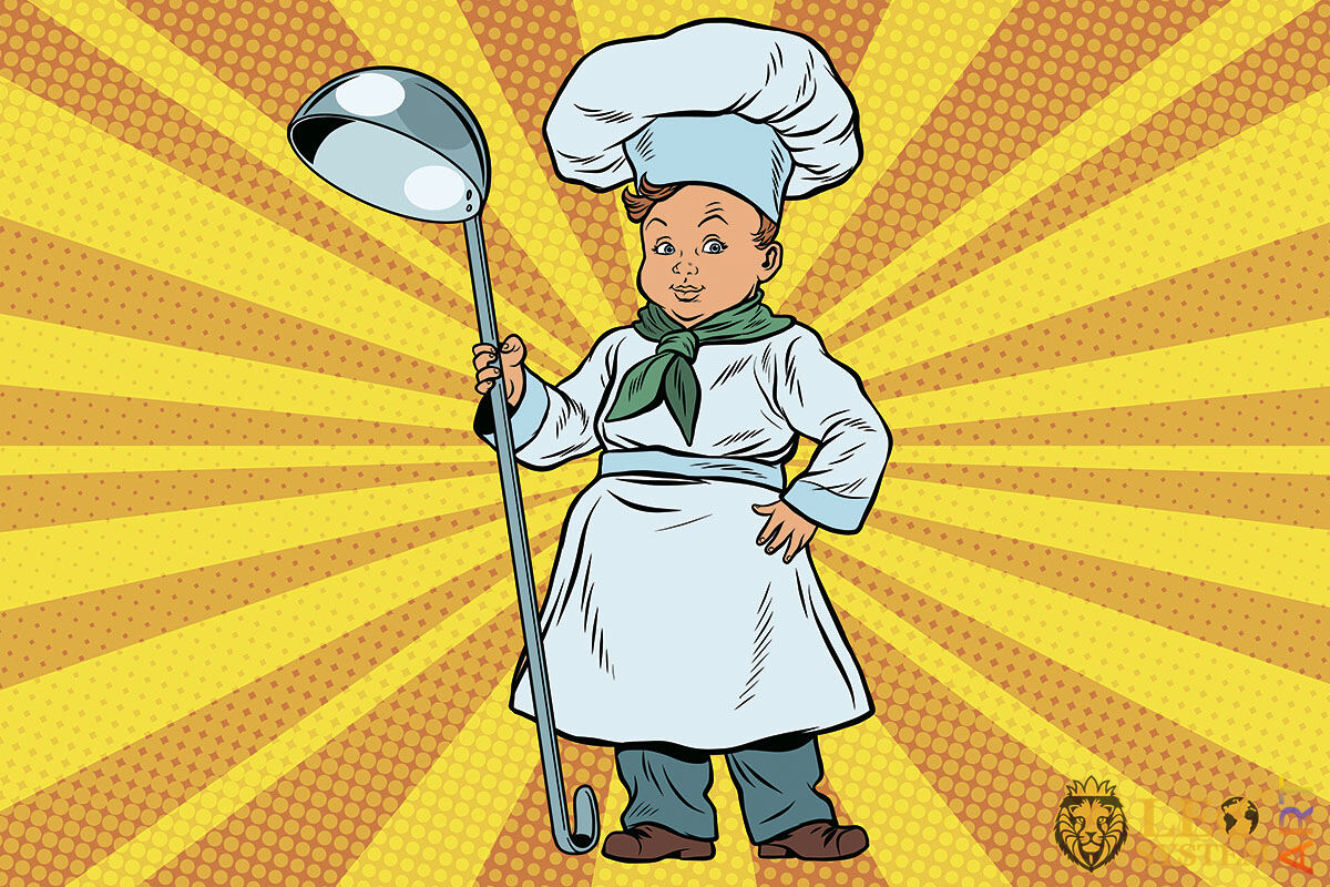 Picture of a child in a cook's costume and with a large ladle