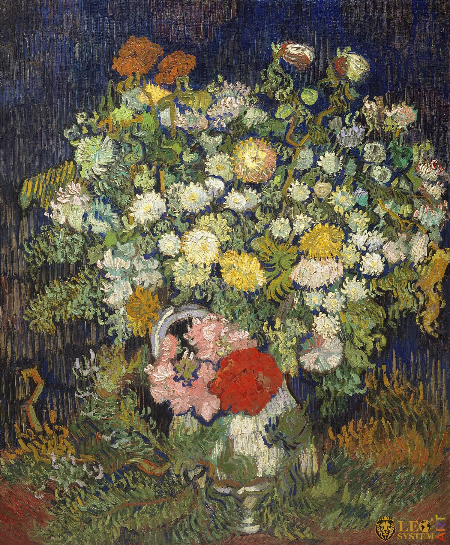 Bouquet of Flowers in a Vase, Painter: Vincent van Gogh, 1890, Dutch Painting, Original painting