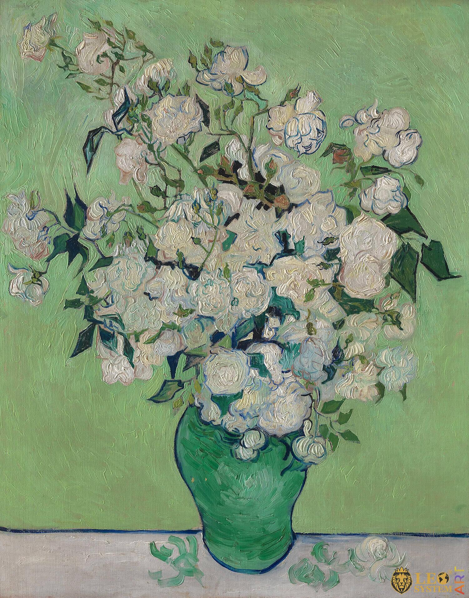 Roses, Painter: Vincent van Gogh, 1890, Dutch Painting, Original painting