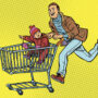 Picture of a father running with a grocery cart in which his child