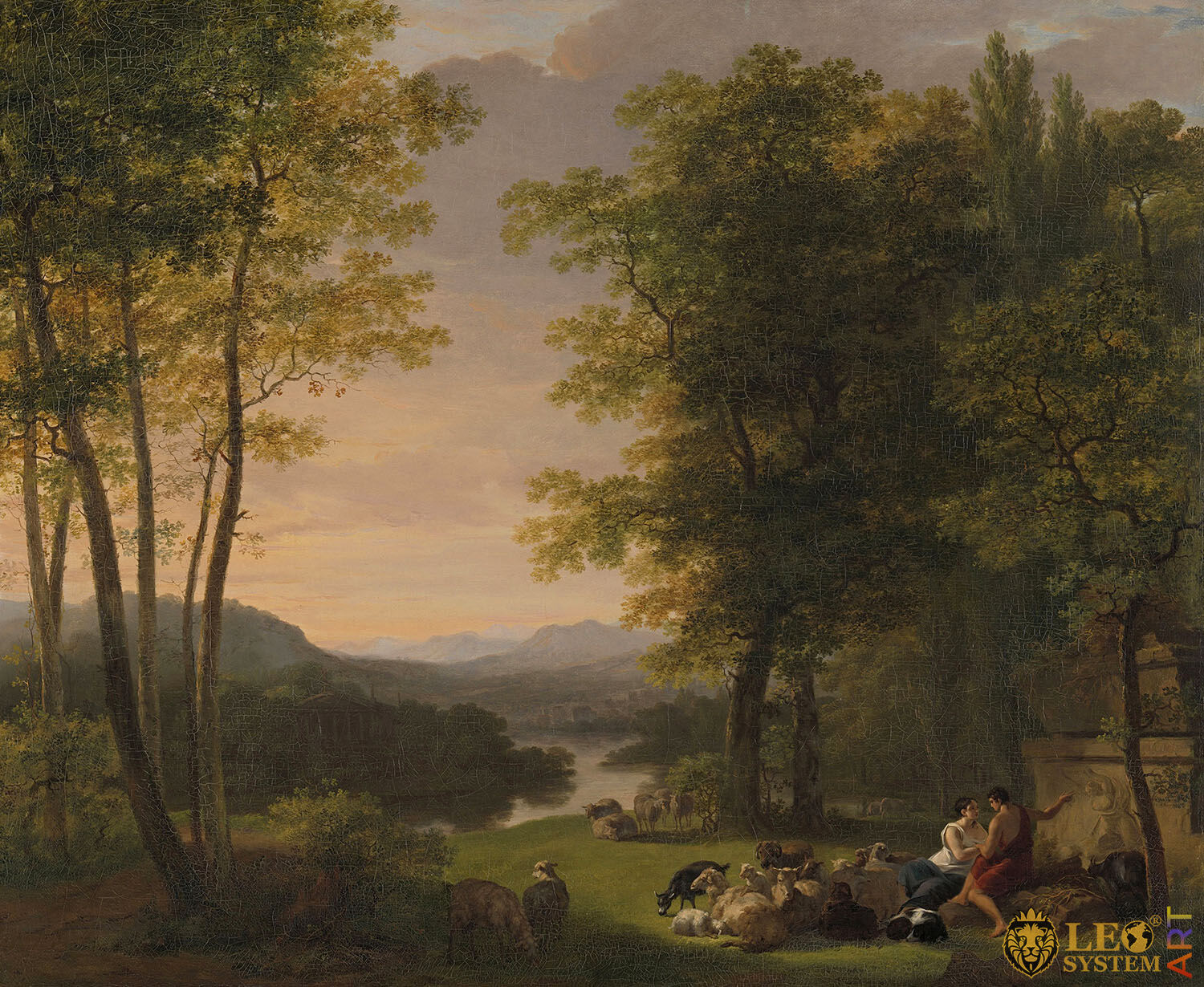 Arcadian Landscape, Painter: Jan Willem Pieneman, 1813, Dutch Painting, Original Painting