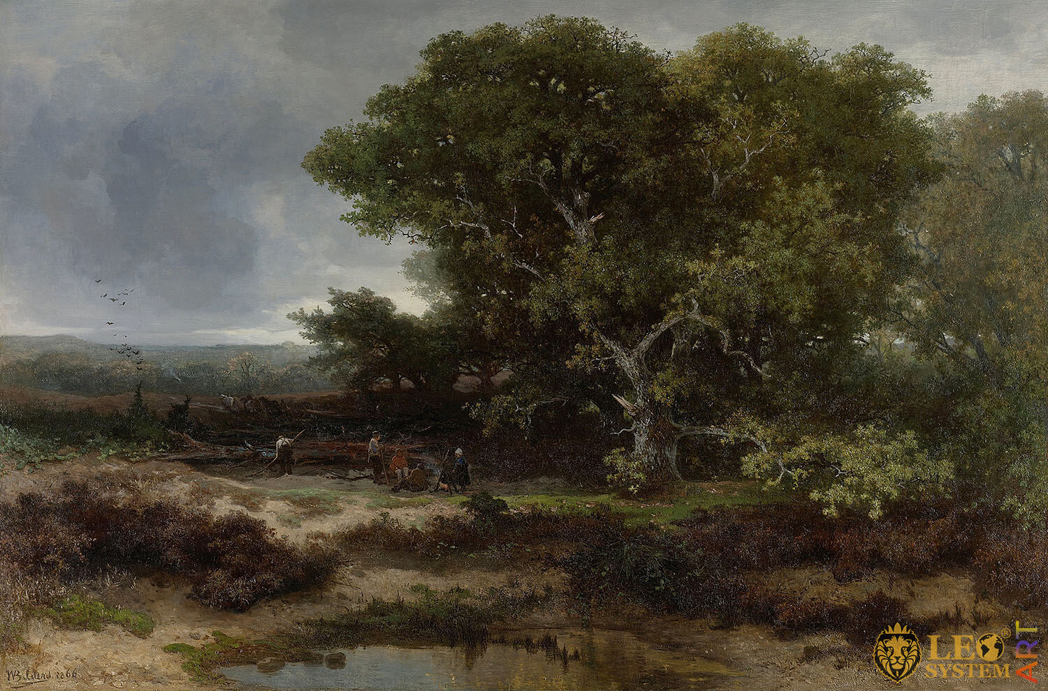 The Heath near Wolfheze, Painter: Johannes Warnardus Bilders, 1866, Dutch Painting, Original Painting