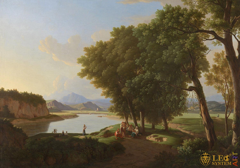 Aqua Cetosa near Rome (Acetosa), Painter: Pieter Rudolph Kleijn, 1810, Dutch Painting, Original Painting
