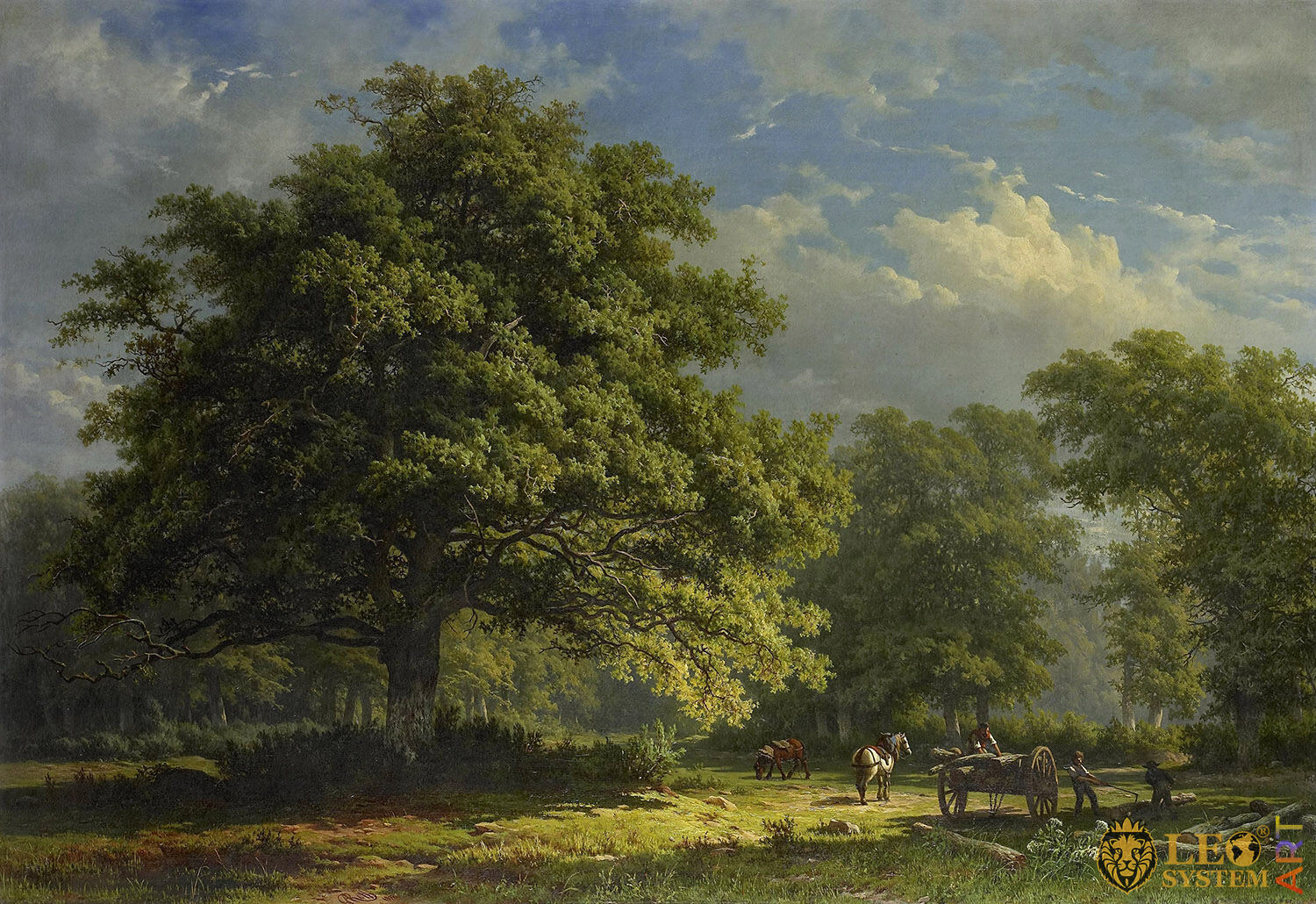 View in the Bentheim Forest, Painter: George Andries Roth, 1870, Dutch Painting, Original Painting
