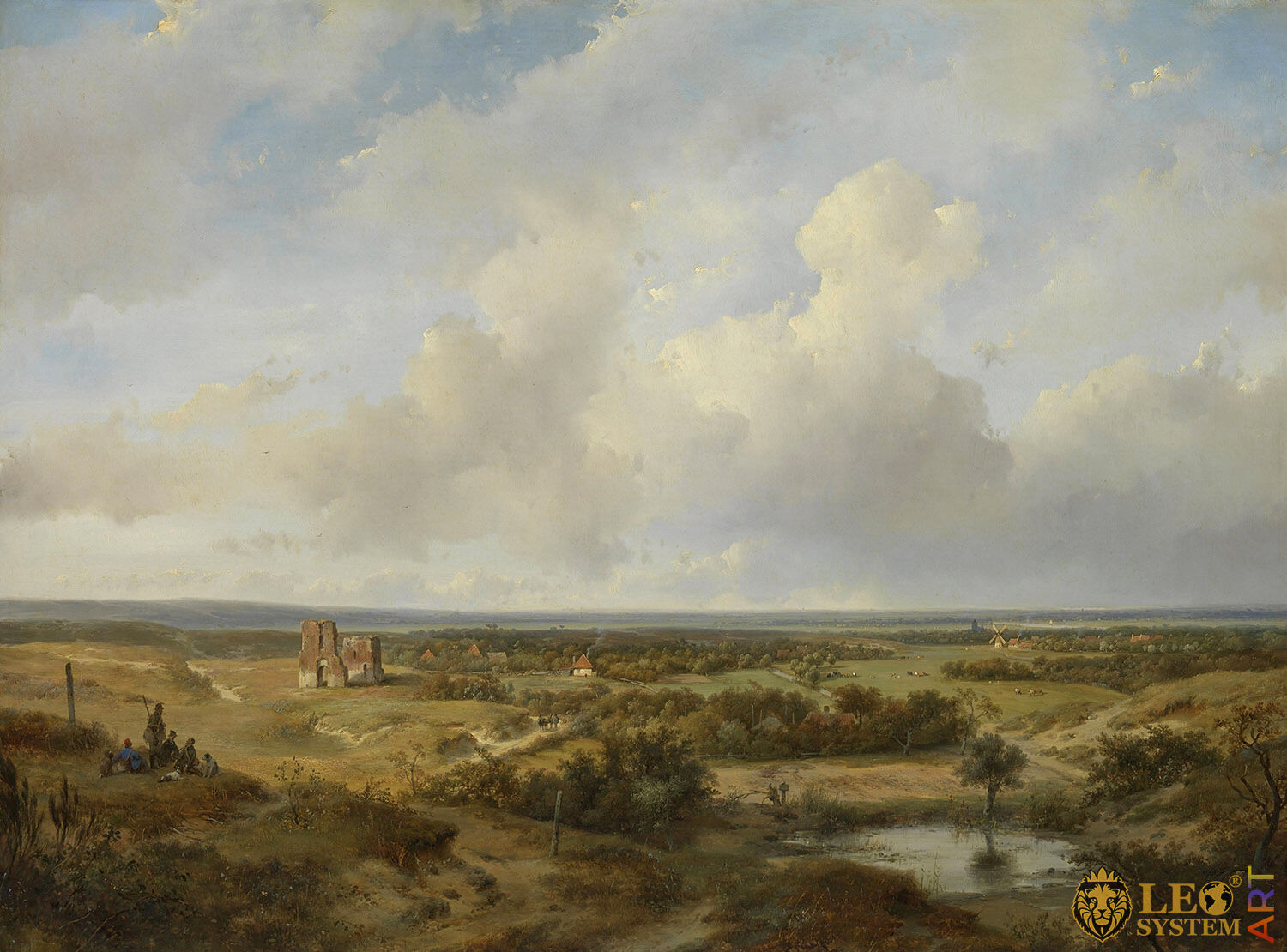 View of Haarlem, Painter: Andreas Schelfhout, 1844, Dutch Painting, Original Painting