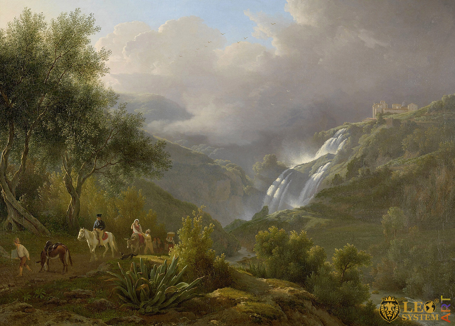 The Cascades at Tivoli, with a Storm Approaching, Painter: Abraham Teerlink, 1824, Dutch Painting, Original Painting