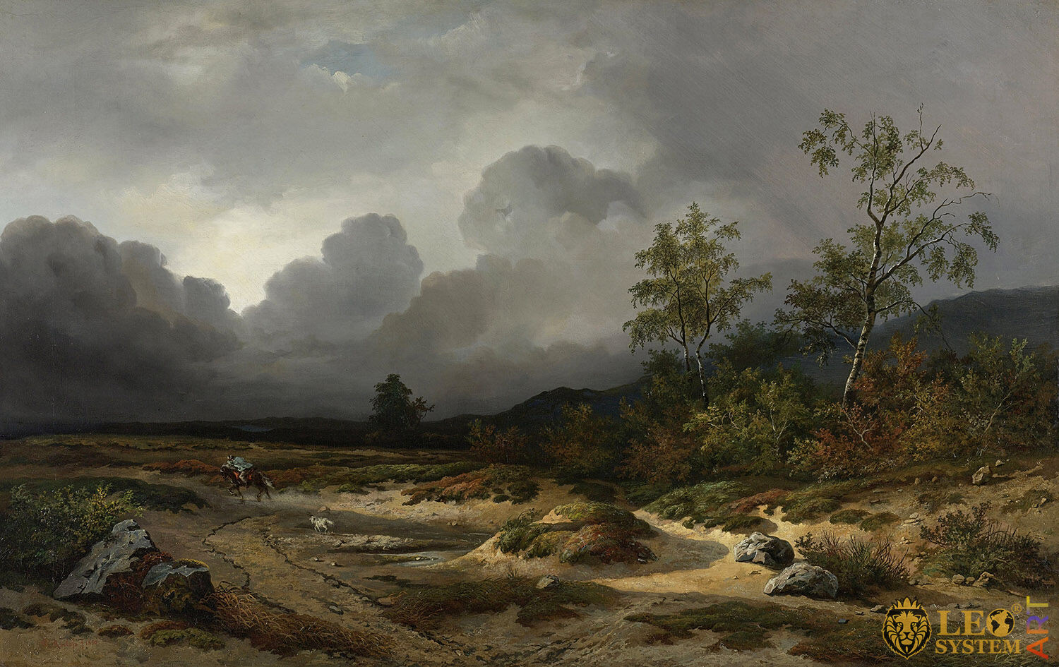 Landscape with a Thunderstorm Brewing, Painter: Willem Roelofs 1st, 1850, Dutch Painting, Original Painting