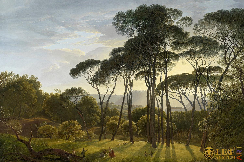 Italian Landscape with Umbrella Pines, Hendrik Voogd, Original Painting