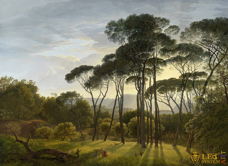 Italian Landscape with Umbrella Pines, Painter: Hendrik Voogd, 1807, Dutch Painting, Original Painting
