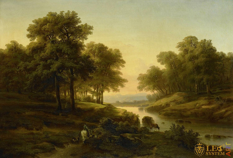 Landscape, Painter: Alexandre Calame, 1830-1845, Dutch Painting, Original Painting