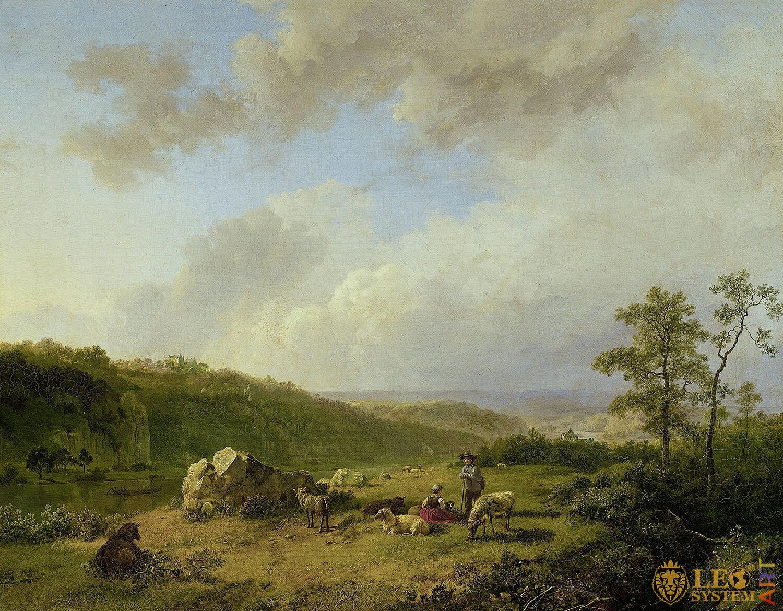 Landscape with an Approaching Rainstorm, Painter: Barend Cornelis Koekkoek, 1825-1829, Dutch Painting, Original Painting