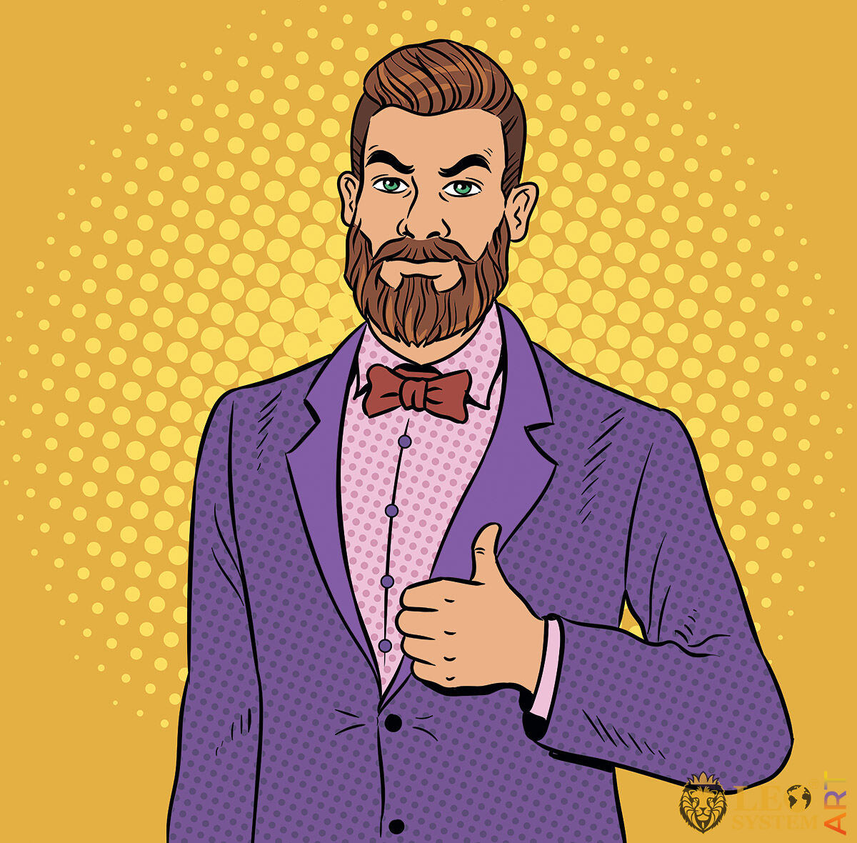 Handsome man with a beard in a business suit