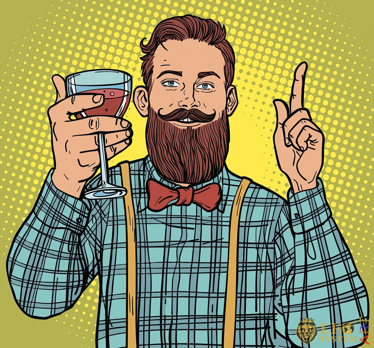Satisfied man with cute beard