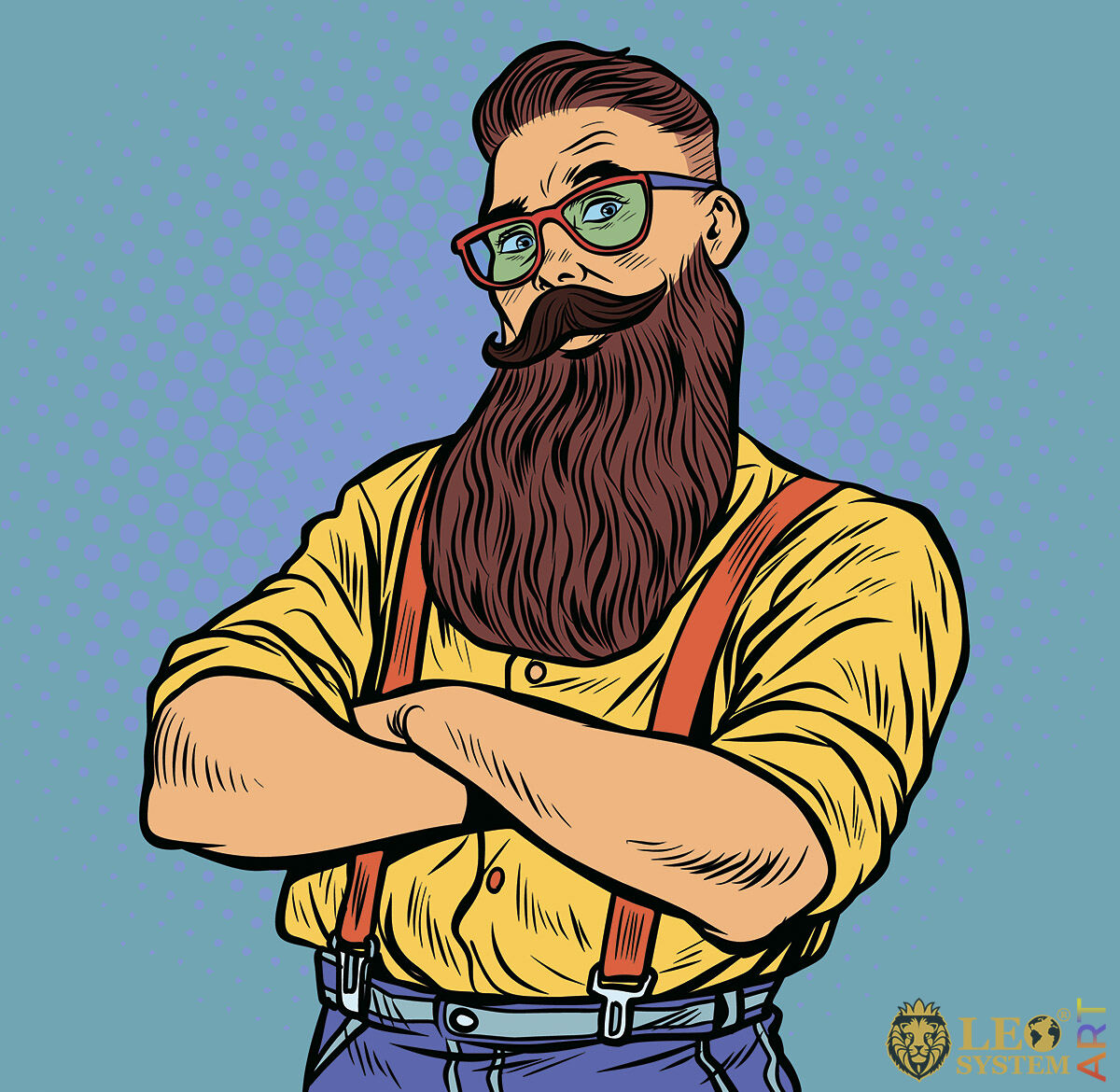 Cute man with long mustache and beard
