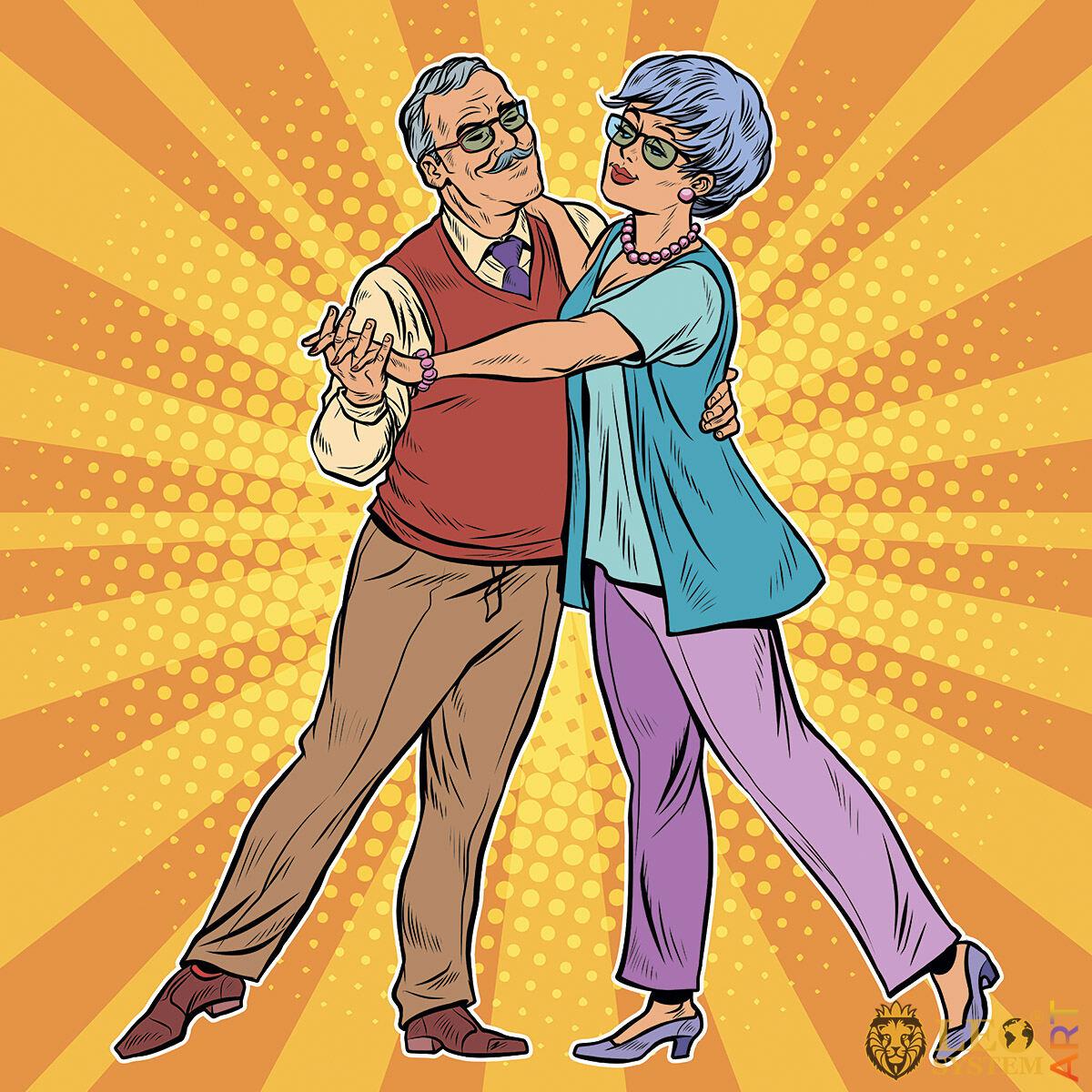 Loving elderly couple cute dancing