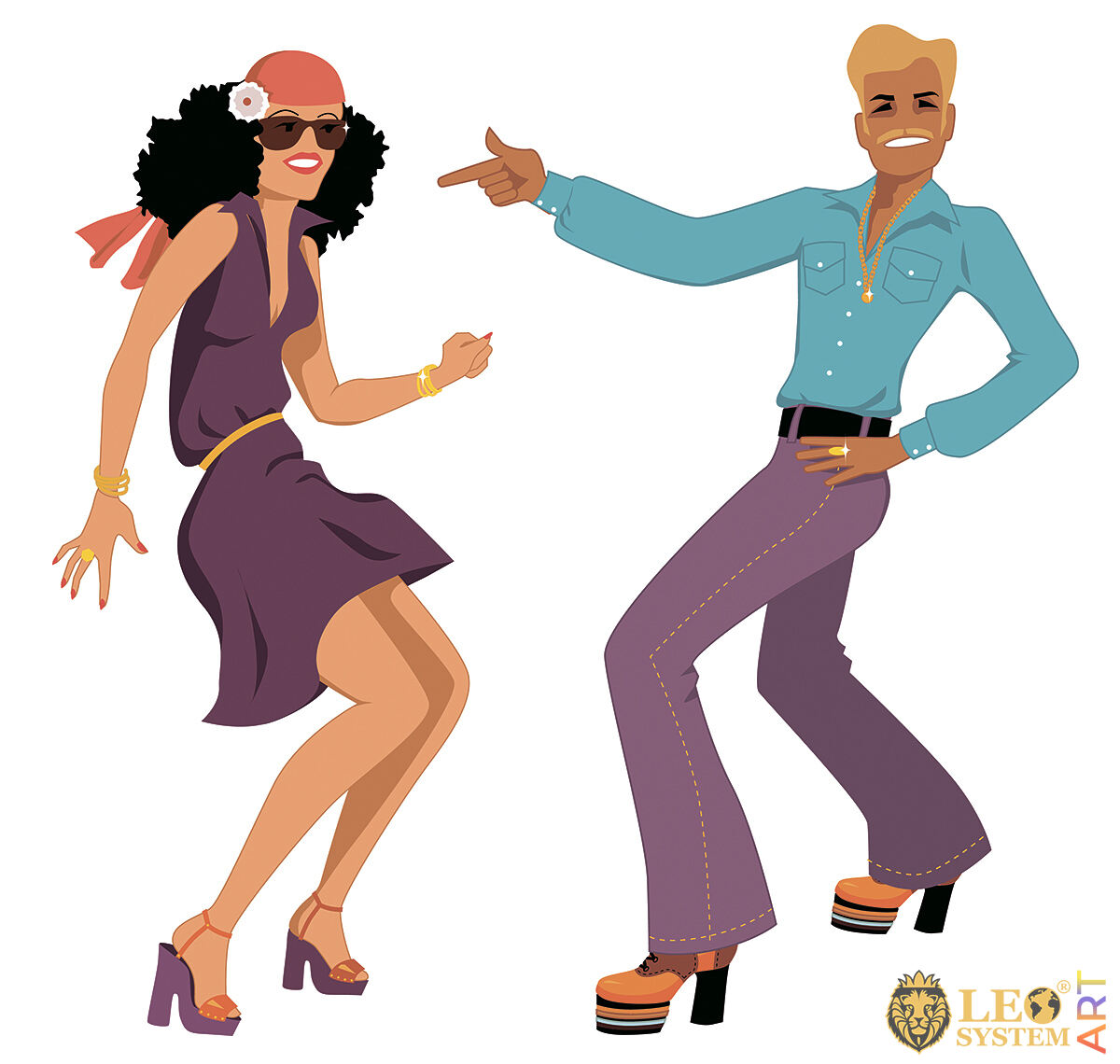 Attractive man and woman dancing cheerfully