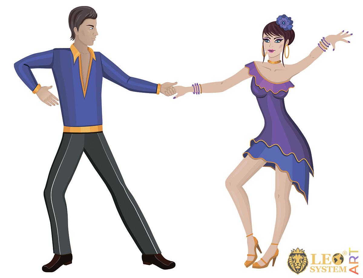 Couple dancing in colorful outfits