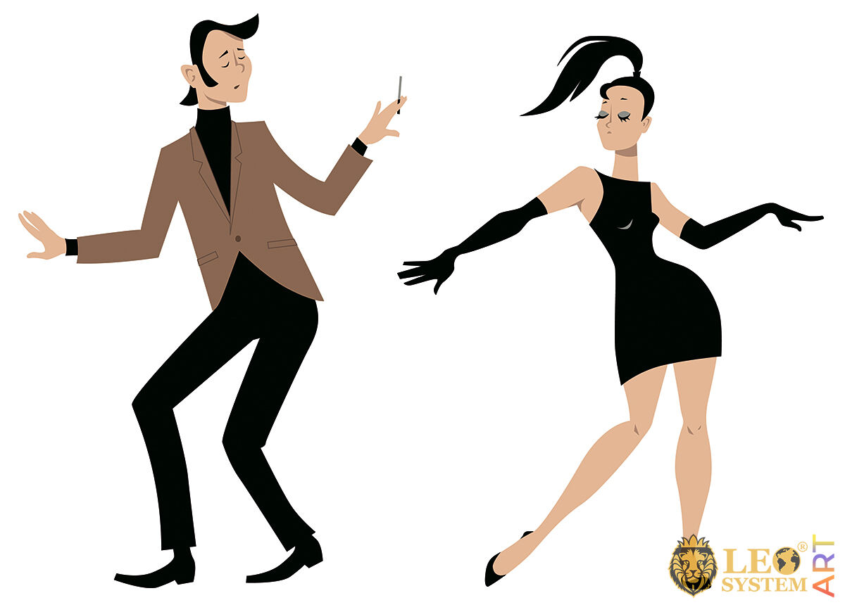 Interesting couple dancing beautifully