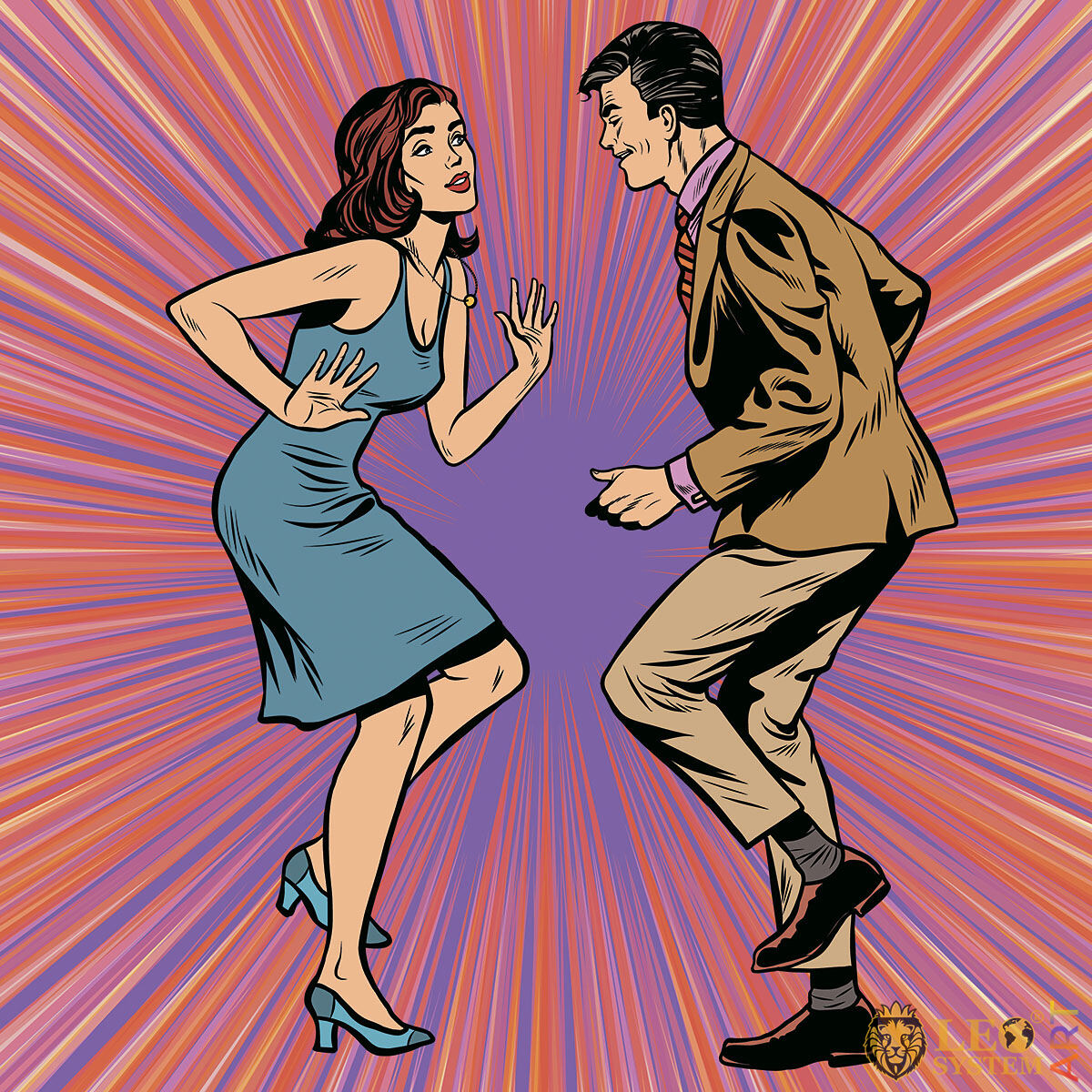 Attractive girl dancing with a man
