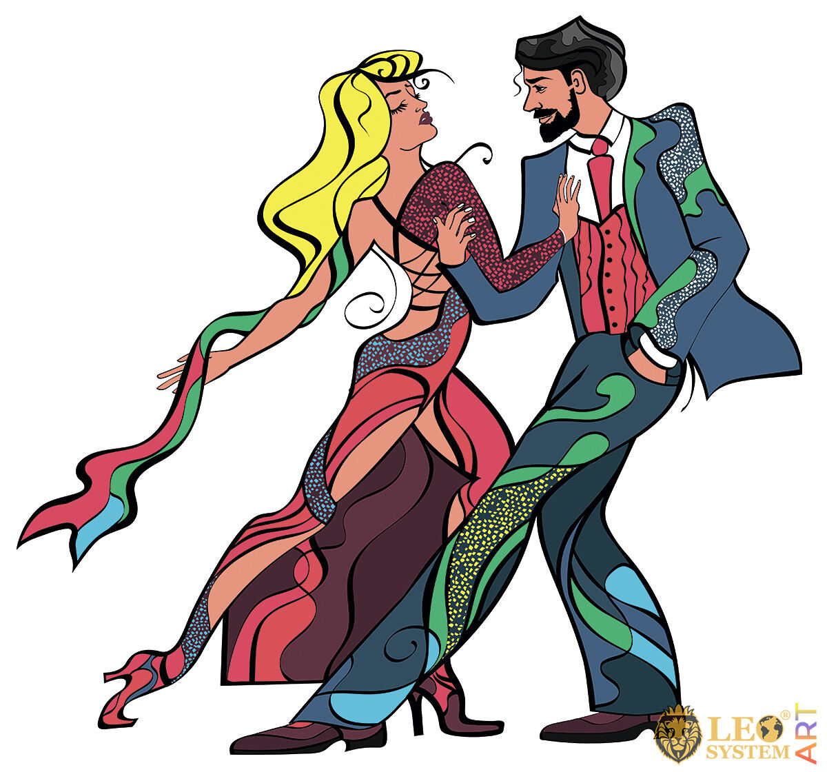 Picture with a dancing couple in colorful costumes