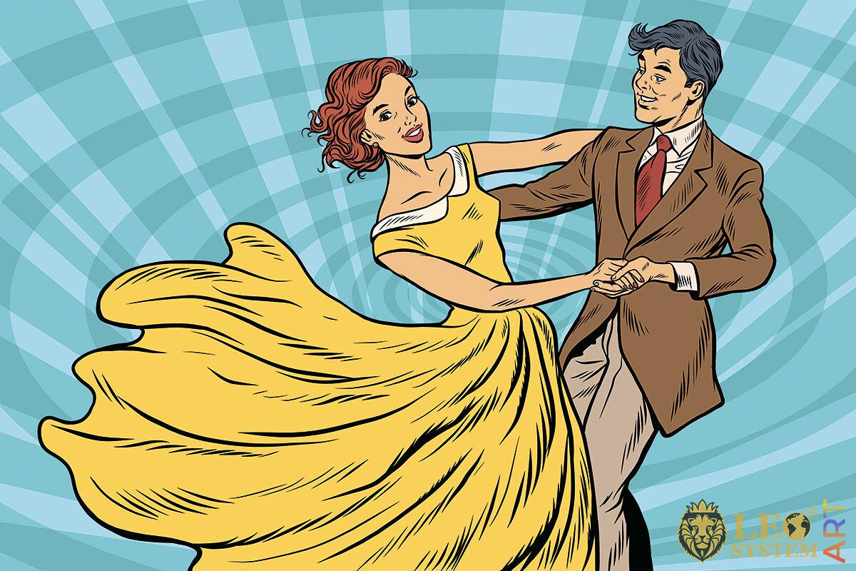 Man and woman dancing slow dance