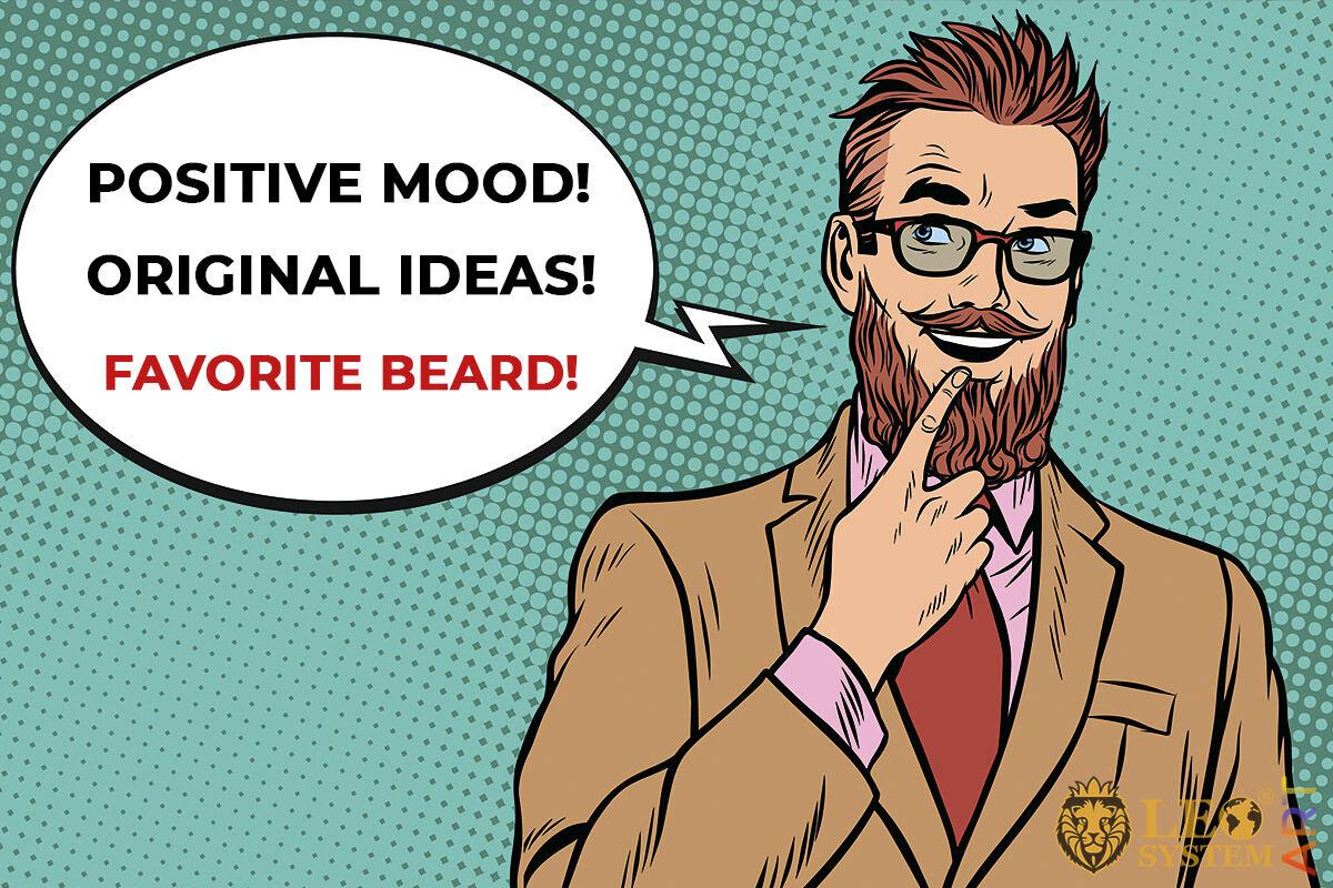 Pensive man with original beard