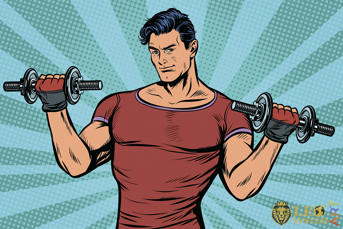 Picture of a sporty man with dumbbells in his hands