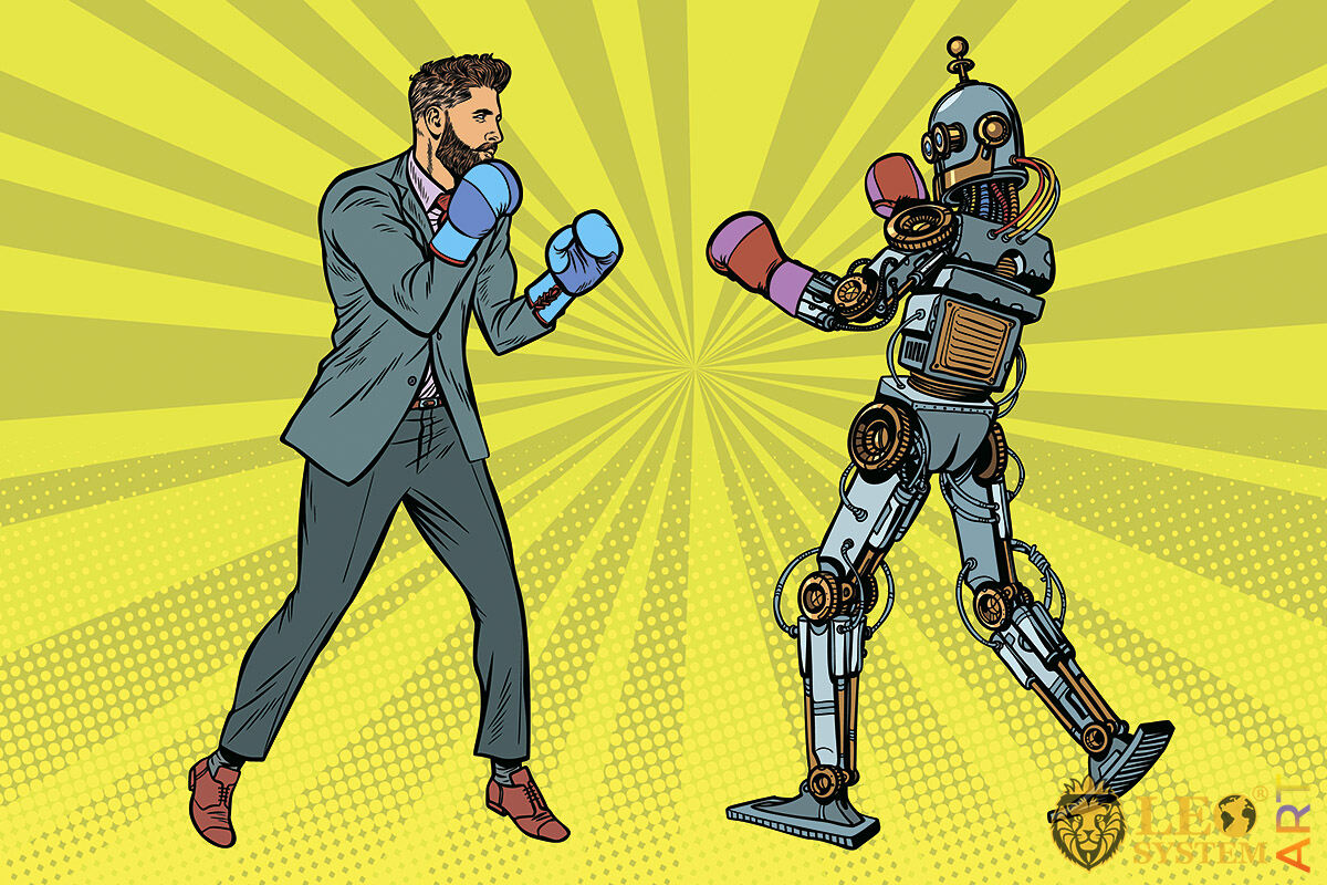 Humorous picture of a man boxing with a robot