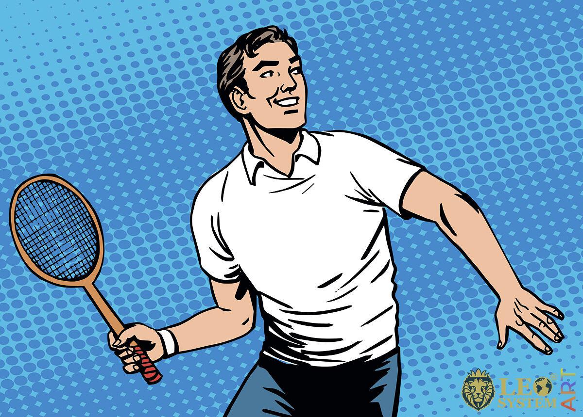 Positive sports man playing tennis