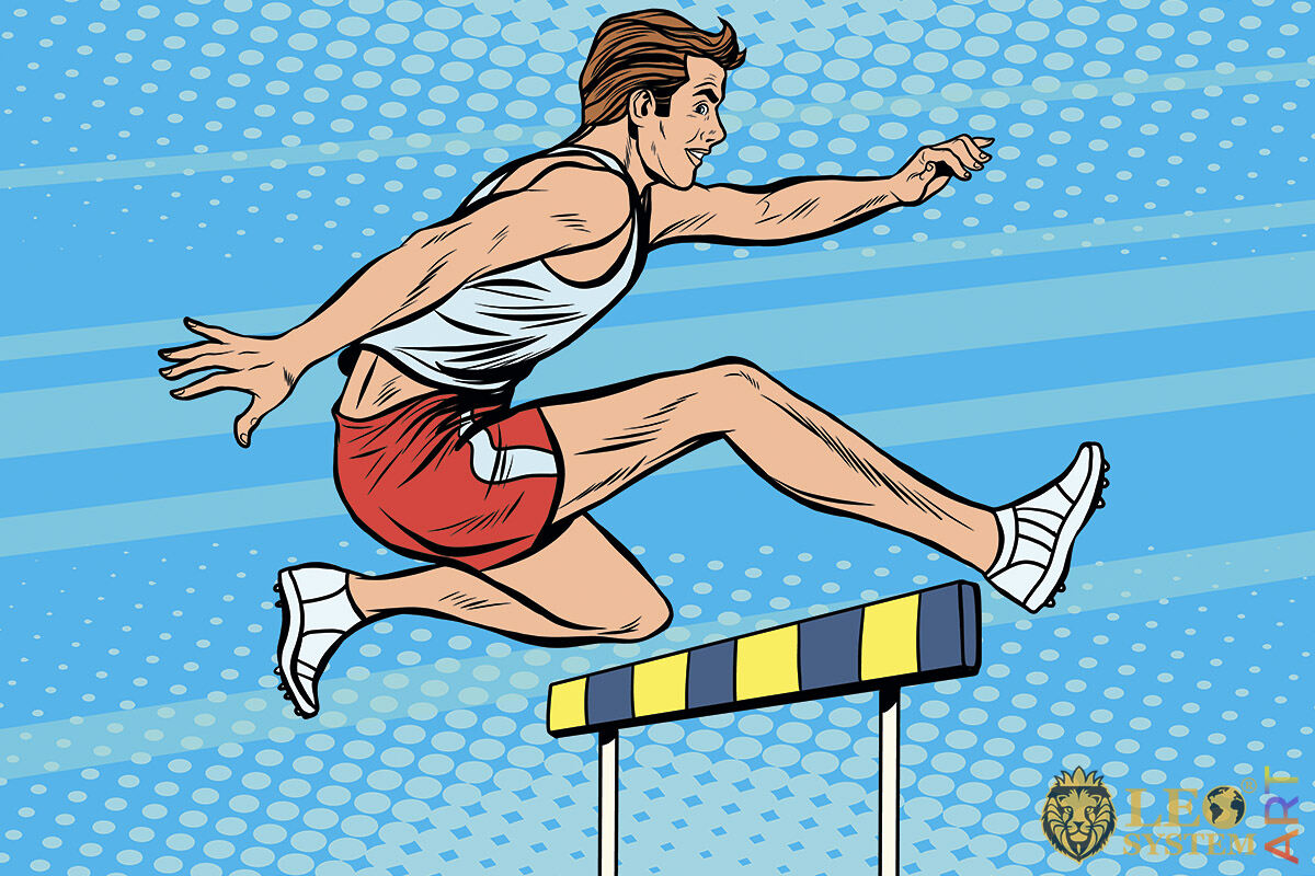 Picture of a runner jumping over a barrier with an obstacle