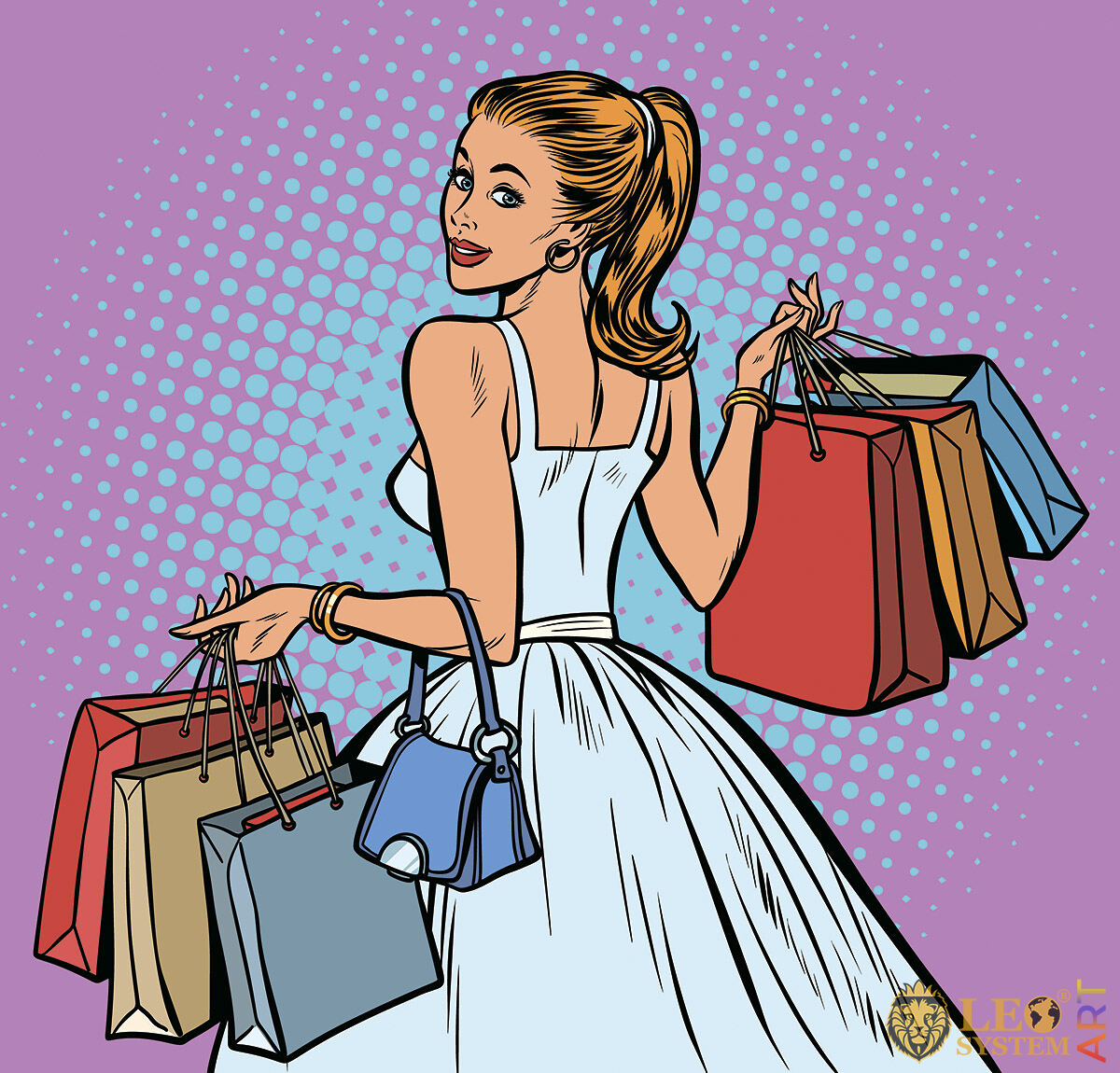 Girl in a beautiful dress and with purchases in her hands
