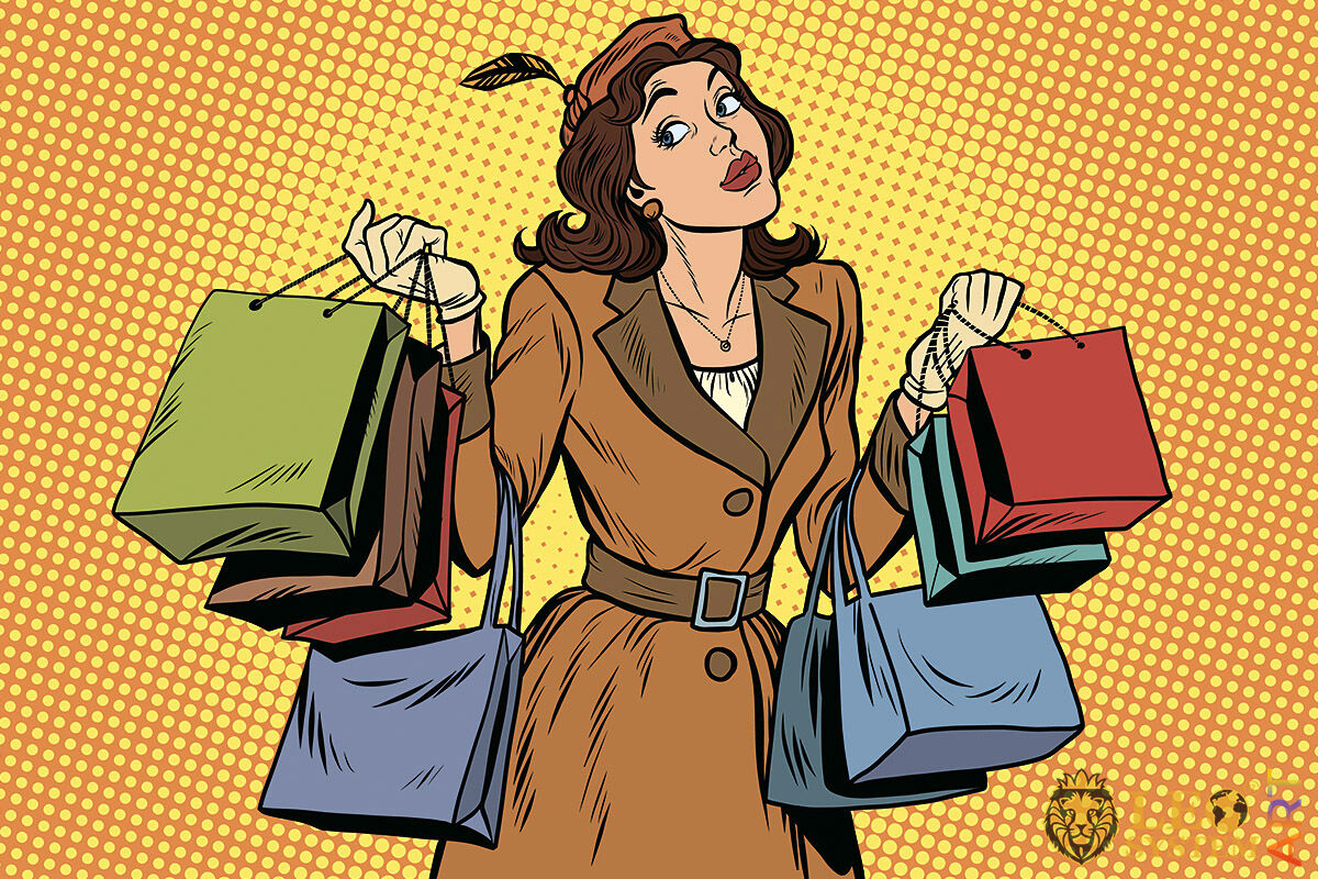Picture of an attractive woman with many purchases in her hands