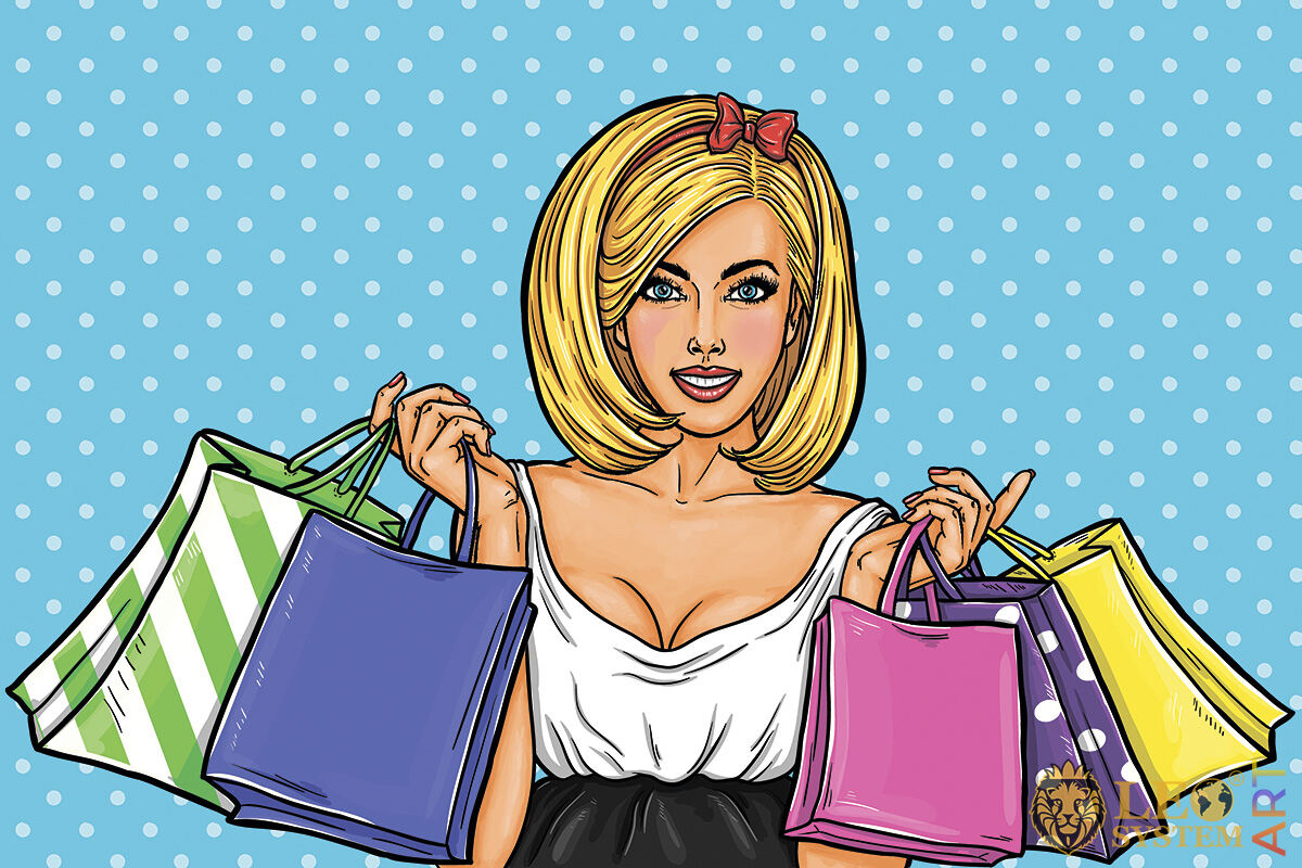 Joyful girl with many shopping bags