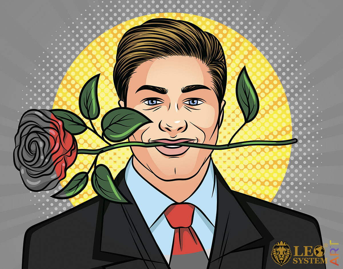 Handsome man with a rose in his mouth