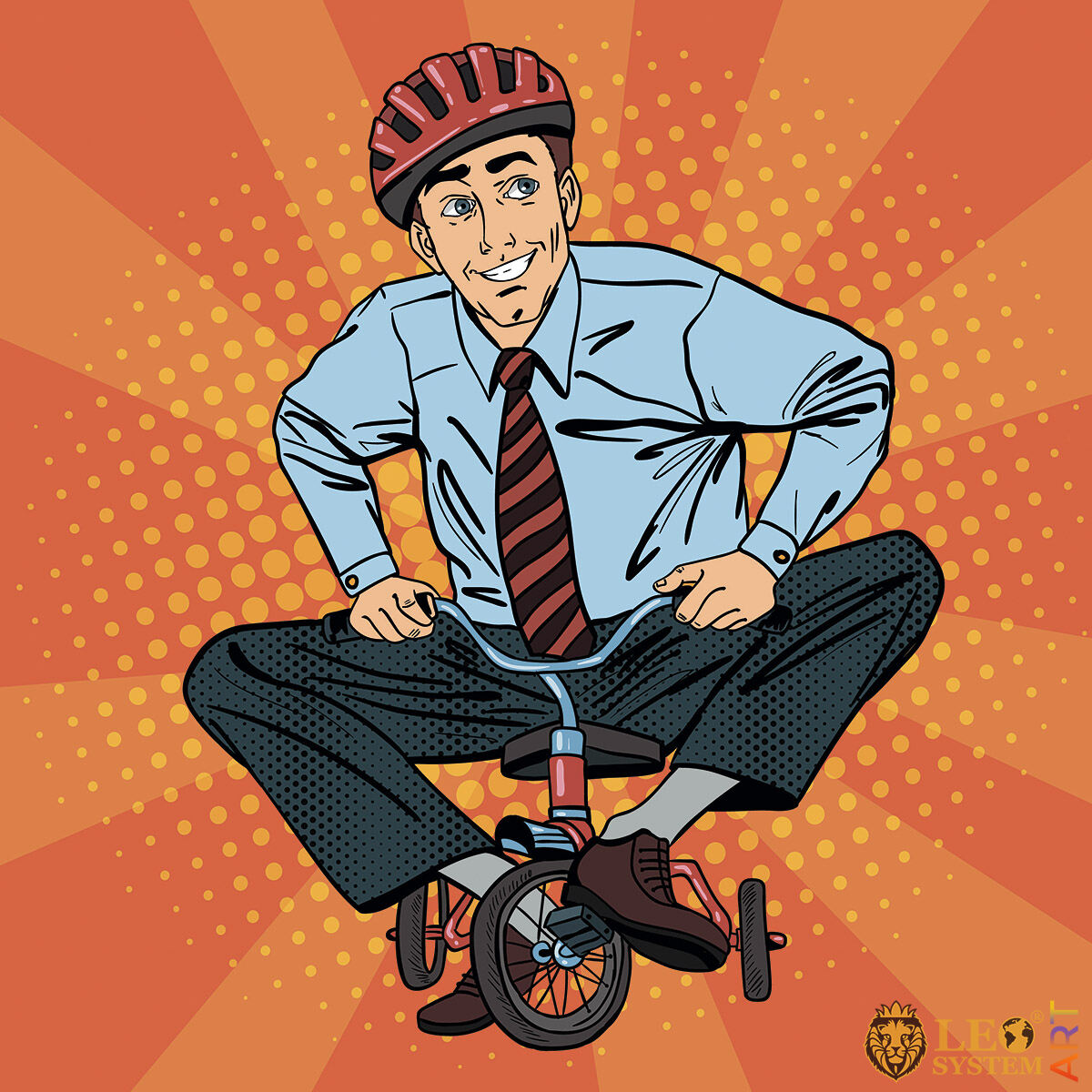 Adult man sat on a small bike and smiles