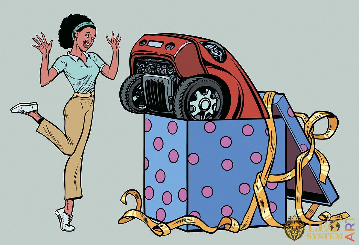 Joyful girl with a presented car