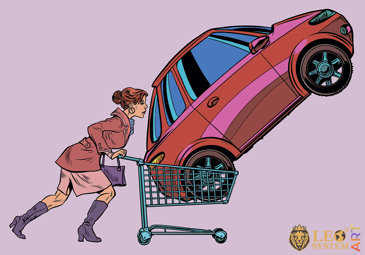Comic picture of a woman with a car in a stroller for groceries